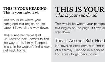 website font mistake: same size fonts