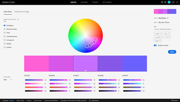 Adobe Color Design Tool for Websites