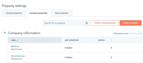 Hubspot CRM custom properties
