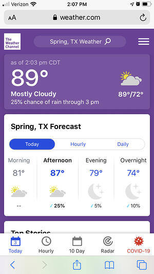 Mobile Web Design example of weather